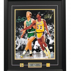 PLATINUM LEVEL Larry Bird & Magic Johnson Dual Signed Custom Framed Celtics vs Lakers 16x20 Photograph