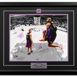 GOLD LEVEL Vince Carter & Tracy McGrady Dual Signed Custom Framed SLAM DUNK 16x20 Photograph