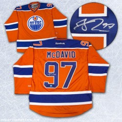 DIAMOND LEVEL Connor McDavid Signed Edmonton Oilers Orange Rookie Reebok Jersey